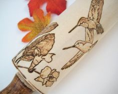 Rolling pin with pyrography art Roll some Lilies in par RivdomArt