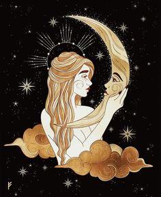 Tarot, Witchy Wallpaper, Arte Sketchbook, Goddess Art, Moon Goddess, Witch Art, Hippie Art, Moon Art, Psychedelic Art