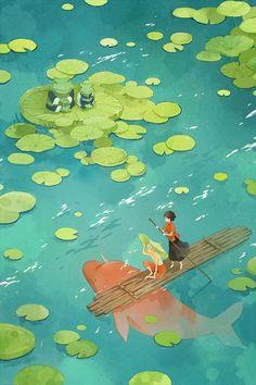 Easy To Grow Houseplants Clean the Air Resultado De Imagem Para Big Fish and Begonia Illustration Art And Illustration, Anime Kunst, Anime Art, Posca Art, Art Aquarelle, Studio Ghibli Art, Environment Concept Art, Anime Scenery, Big Fish