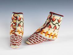 Crocheted baby bootees, c.1870.