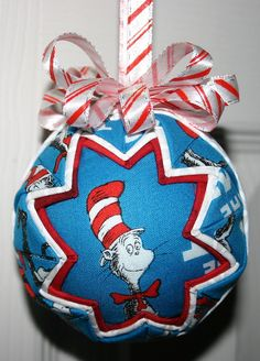Cat in the Hat fabric ornament