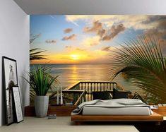Summer Deck Sunset Ocean Beach - Large Wall Mural, Self-adhesive Vinyl Wallpaper, Peel & Stick fabric wall decal Large Wall Murals, Wall Stickers Murals, Wall Decals, Wall Art, Vinyl Wallpaper, Photo Wallpaper, Adhesive Wallpaper, Sunset Beach, Ocean Beach