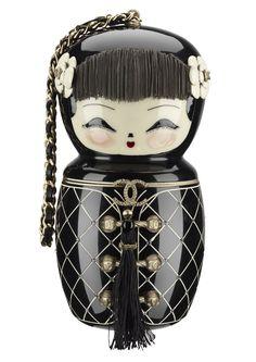 Pre-Fall  Black enamel doll bag