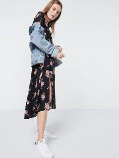 Long slv floral midi dres Black Mesh Top, Black Spot, Amelie, Child, Floral, Skirts, Clothes, Tops, Dresses