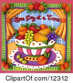 Clay Sculpture Clipart One Day At A Time Fruit Bowl Scene Royalty Free 3d Illustration by Amy Vangsgard