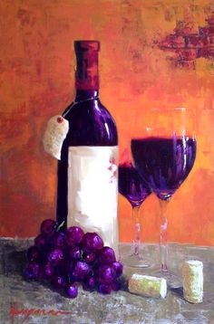 Red Wine Still Life Bottle wine glasses and grapes