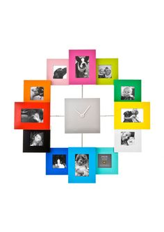 photo clock - you can get those small wooden frames at Ikea and paint them to match your house. Cute idea!