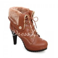 Stylish Solid Color and Lace-Up Design Women's Turnover Short Boots, DEEP BROWN, 37 in Boots   DressLily.com