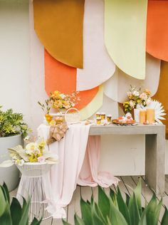 Palms Up! Gorgeous Dried Tropical Leaves are In Colorful retro wedding ideas with white painted dried sun spear palm leaves and layered fabric backdrop for. Wedding Themes, Wedding Designs, Wedding Colors, Wedding Flowers, Wedding Ideas, Wedding Inspiration, Wedding Shoot, Wedding Attire, Wedding Makeup