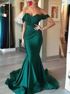 Off Shoulder Emerald Green Mermaid Long Evening Prom Dresses 4c57a31491b6