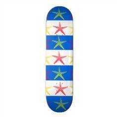 Summer Beach Theme Starfish Blue Striped Pattern Skate Decks | Skateboards for Girls