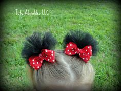 mickey mouse ears hair clips-cute with the tulle!