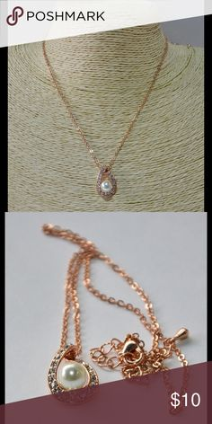 """Premier Designs """"Forever Young"""" Necklace Rose gold colored chain with tear drop shaped pendant surrounded by crystals and faux pearl in the center - Necklace measures up to approximately 20"""" with lobster claw closure - Retails at $29 new without tags (5293) Premier Designs Jewelry Necklaces"""