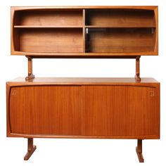 Scandinavian Design Teak Credenza with Hutch, Denmark   From a unique collection of antique and modern sideboards at https://www.1stdibs.com/furniture/storage-case-pieces/sideboards/
