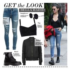 """""""Get The Look-Bella Hadid"""" by kusja ❤ liked on Polyvore featuring Yves Saint Laurent, Topshop, Dolce&Gabbana, Dr. Martens, Una-Home, GetTheLook, celebstyle and bellahadid"""