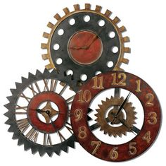 Uttermost 06762 Rusty Movements Wall Clock - contemporary - Clocks - Lighting Front