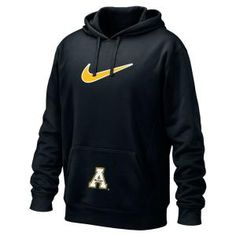 """Nike therma fit hoody in black with Nike embroided graphic on front and block """"A"""" embroidery on front pocket. Fabric content is 100% polyester."""
