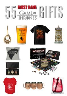 This is an awesome list of Game of Thrones gifts for anyone who loves the TV series or knows someone who does. Shirts, wine glasses, games, home decor and more.