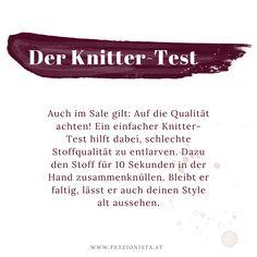Auch im Sale gilt: Auf die Qualität achten! Ein einfacher Knitter-Test hilft dabei, schlechte Stoffqualität zu entlarven. (Fashion Hacks, Einkaufstipps, Modetipps, Shopping Tipps) Personal Style, Blog, Hacks, Fashion, Clueless, Look Older, Shopping, First Aid, Moda