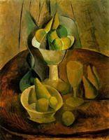 Pablo Picasso.  Compotiers, frutas et verre, 1908
