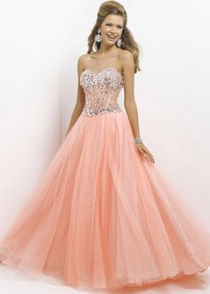 Pink by Blush 2014 Prom Dresses - Coral Jeweled Strapless Prom Gown - Unique Vintage - Prom dresses, retro dresses, retro swimsuits. I like the top of the dress Tulle Prom Dress, Homecoming Dresses, Bridesmaid Dresses, Gown Dress, Quince Dresses, Formal Dresses, Dresses Uk, Dresses Online, Beauty And Fashion