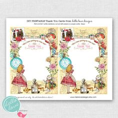 Instant Download Alice in Wonderland Printable Party Thank You Cards by hello love designs