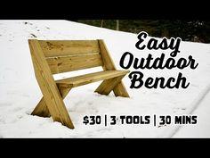 DIY Outdoor Bench in 30 mins w/ only 3 Tools! Best Woodworking Tools, Woodworking Garage, Woodworking Workbench, Woodworking Classes, Woodworking Techniques, Woodworking Projects, Wood Projects, Woodworking Beginner, Youtube Woodworking