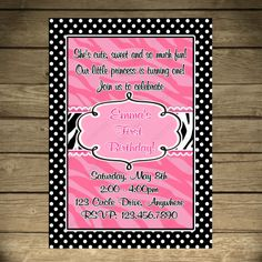 Pink Little Zebra Diva Birthday Invitation Or by PeriwinklePapery, $7.00