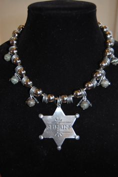 Upcycled Sheriff Badge Statement Necklace by Menono Designs
