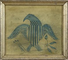 Folk Art Painting of a Shield-Breasted Eagle, - Cowan's Auctions ~♥~