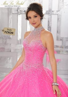 Crystal Beaded Organza Ball Gown The Perfect Mix and Classic and Modern, this Organza Quinceañera Ballgown Features a Fully Beaded Halter Bodice and Delicately Beaded Ballgown Skirt. Grad Dresses, Ball Dresses, 15 Dresses, Pretty Dresses, Homecoming Dresses, Ball Gowns, Fashion Dresses, Pretty Quinceanera Dresses, Quince Dresses