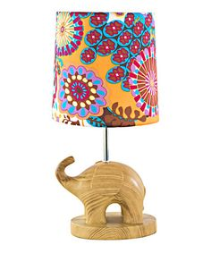 Another great find on #zulily! Purple Elephant Wood Grain Accent Table Lamp #zulilyfinds