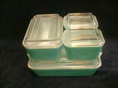Vintage 8 Pc Set Pyrex Aqua Turquoise Refrigerator Dishes