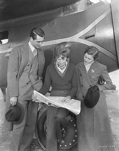 Amelia Earhart with Cary Grant and Myrna Loy