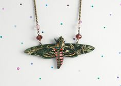 Laser Cut Wooden Moth Necklace. Vintage Hawk Moth nature illustration lasercut with vintage glass beads on brass chain