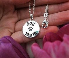 Charm Necklace - .925 Sterling Silver Chain - Dog Mom Pendant - Paw Print Puppy Lover Gift