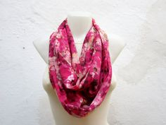 infinity scarf Loop scarf Neckwarmer Necklace scarf Fabric scarf   Pink Black Green on Etsy, $14.00