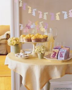 Easter Bunny Garland: These cheerful decorations multiply quickly, thanks to their simple construction. To bring some festive cheer to your dessert table, march the rabbits across a garland, sit them atop cupcakes, or use them to offer sneak peeks into gift bags.