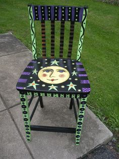 Hand painted Halloween chair. OOAK $150.00 / Salem Ohio Local Pick up Only - no shipping