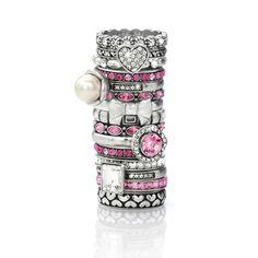 Brighton ~ Pink & Silver Stack Rings ♥