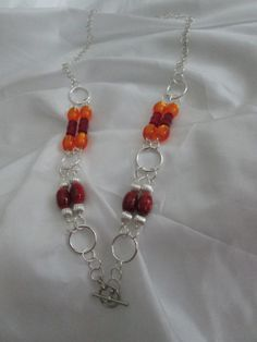 Orange Red and Silver Beaded Necklace  by BeadedDesignsJacquie, $15.00