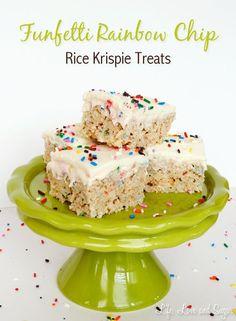 Funfetti cake batter with rainbow chip rice krispie treats
