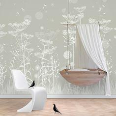 Een behangpaneel met mooi dessin van paardenbloemen, fluitekruid en vlinders. Bijzonder geschikt voor die ene wand in de kinderkamer! Price €199,95