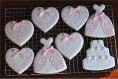 Heart Cookies, Cut Out Cookies, Sugar Cookie Royal Icing, Sugar Cookies, Yummy Cookies, Iced Cookies, Wedding Dress Cookies, Heart Stencil, Bachelorette Decorations