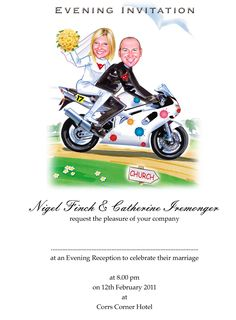 Evening invite with the couple showing off their love of motorbikes