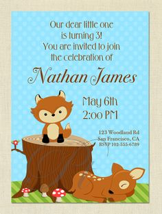 Woodland Birthday Party or Baby Shower - DIY Printable Invitation - You Print. $10.00, via Etsy.