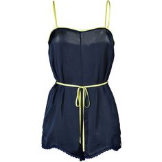 JUICY COUTURE Regal Navy Satin Romper ($73) ❤ liked on Polyvore