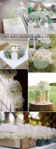 unique wedding ideas with baby's breath decorations and mason jars, rustic wedding decor