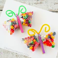 Jelly Bean Butterfly Treat Bags cooking ideas for preschoolers cooking ideas for toddlers egg recipes ideas recipes ideas recipes ideas families recipes ideas healthy recipes ideas sides recipes ideas simple easter recipes ideas Ladybug Crafts, Butterfly Crafts, Butterfly Bags, Kids Crafts, Easter Crafts, Easter Egg Dye, Easter Party, Easter Brunch, Jelly Beans
