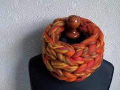 Women super chunky hand knitted yellow-red-brown pure merino